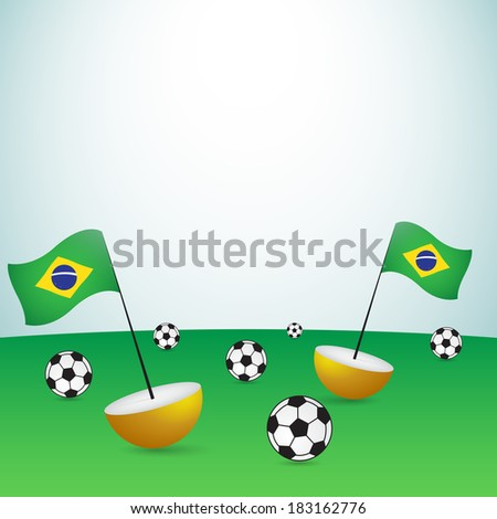 brazil flags with balls on football pitch