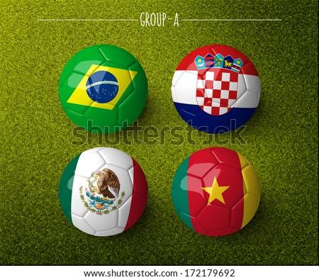 Brazil 2014, group A. (org. size: 3000x2500px) - stock photo