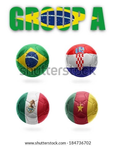Brazil. Group A. Realistic  Football balls with national flags of Brazil, Croatia, Mexico, Cameroon - stock photo
