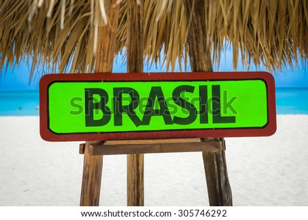 Brazil (in Portuguese) sign with beach background - stock photo