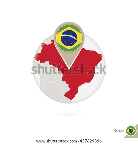 Brazil map and flag in circle. Map of Brazil, Brazil flag pin. Map of Brazil in the style of the globe. Raster copy.