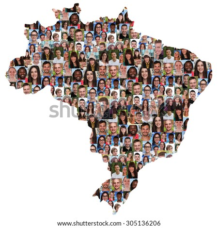 Brazil map multicultural group of young people integration diversity isolated - stock photo
