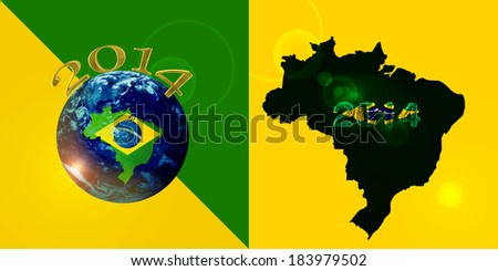 brazil map numbers gold, world of Elements of this image furnished by NASA