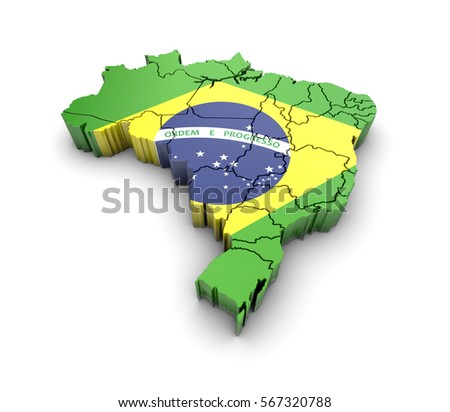 Brazil Map Flag Shadow On White Stock Illustration - Brazil map