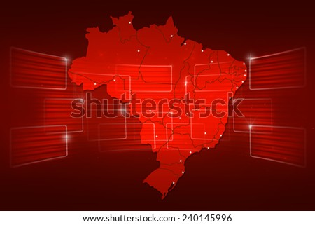 Brazil Map World map News Communication delivery red - stock photo