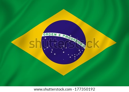 Brazil national flag background texture. - stock photo