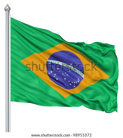Brazil national flag waving in the wind