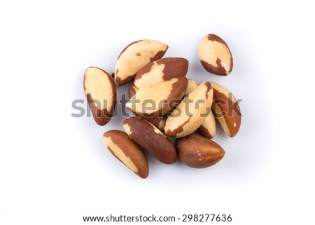 Brazil Nuts Close-up Isolated on White Background - stock photo