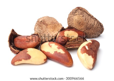 Brazil nuts on white background - stock photo