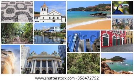 Brazil photo collage with Sao Paulo, Rio de Janeiro, Iguazu and Curitiba. - stock photo