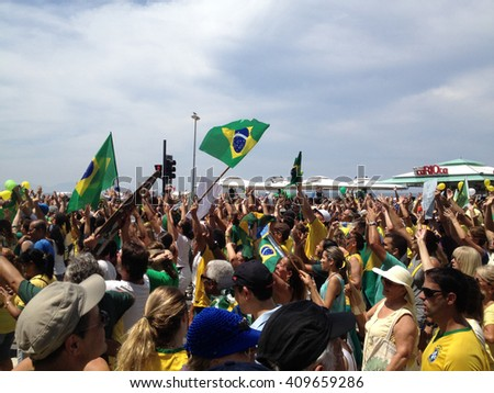 BRAZIL, RIO DE JANEIRO - March 2015: The beginning of the protests of Brazilians against corruption and calling for the impeachment of the President. - stock photo