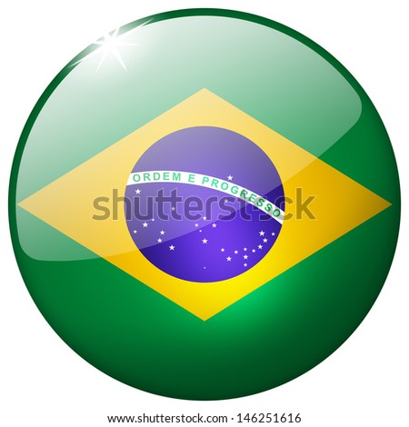 Brazil Round Glass Button - stock photo