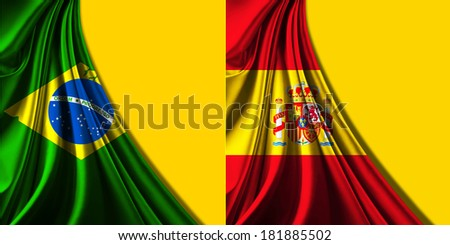 Brazil,spain  flag fabric and yellow background - stock photo