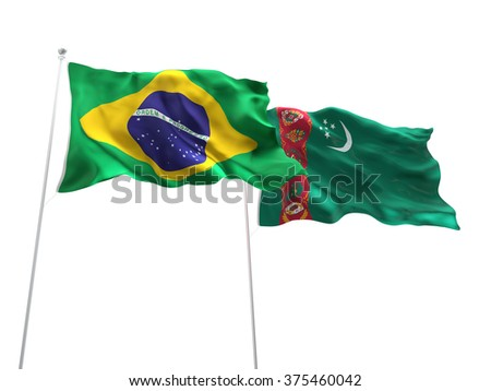 Brazil & Turkmenistan Flags are waving on the isolated white background