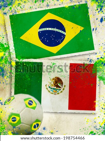 Brazil vs Mexico soccer ball concept                                - stock photo