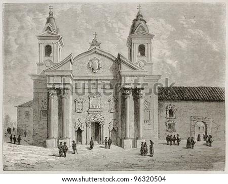 Brazilian church old view. Created by Riou, published on Le Tour Du Monde, Paris, 1867 - stock photo