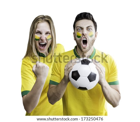 Brazilian couple celebrate on white background. Can be used as Australian uniform too. - stock photo