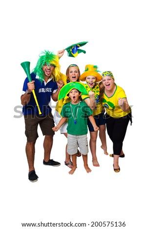 Brazilian family celebrating a Brazilian soccer team goal on white background - stock photo