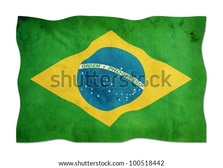 Brazilian flag made ??of paper. - stock photo