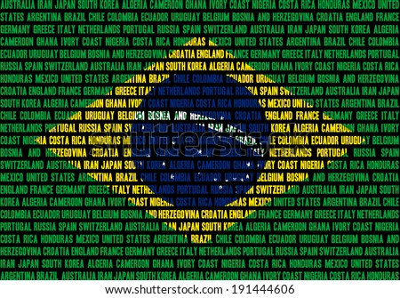 Brazilian flag made out of team names which play at Brasil 2014 football championship, team names in separate rows, all equal size. - stock photo