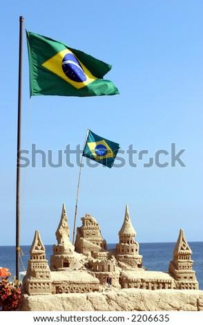 Brazilian flag on Copacabana beach in Rio de Janeiro - stock photo