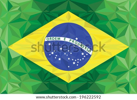 Brazilian flag polygonal background. Raster version.