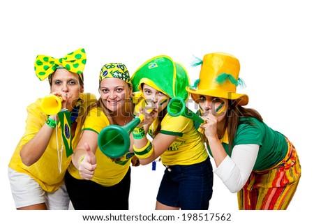 Brazilian girls celebrating brazil team goal on white background - stock photo