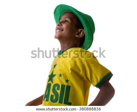Brazilian little boy fan on white background