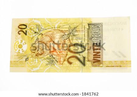 Brazilian money 20 Real - stock photo