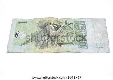 Brazilian money 1 Real - stock photo