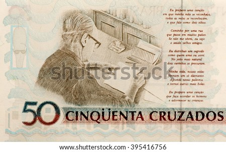 Brazilian paper money fifty cruzado as background and texture. - stock photo