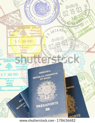 Brazilian Passport isolated on a stamp paper - stock photo