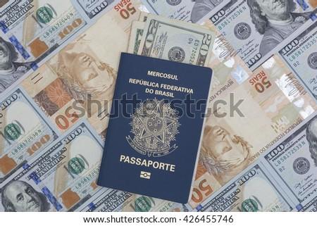 brazilian passport money - stock photo