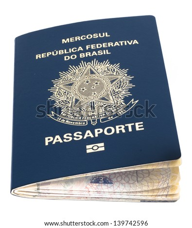 brazilian passport over a white surface, isolated - stock photo