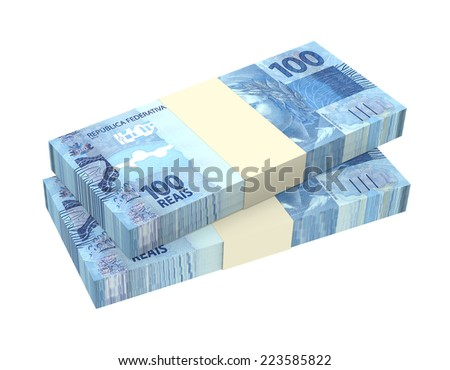 Brazilian reais isolated on white background. Computer generated 3D photo rendering. - stock photo