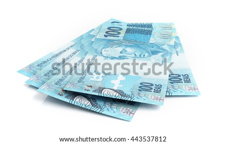 Brazilian real banknotes. 3d rendering. - stock photo