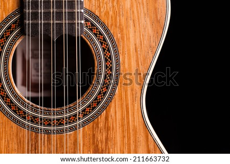 Brazilian 10 strings guitar made by luthier Luciano Queiroz - stock photo