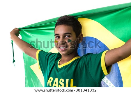 Brazilian teenager fan fan holding the flag of Brazil