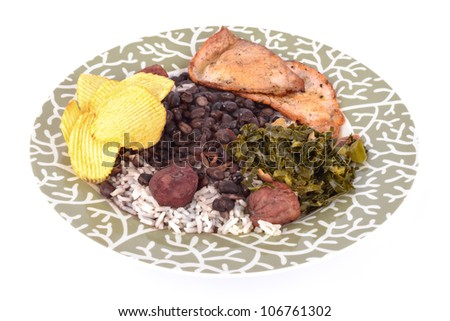 Brazilian typical food Feijoada. - stock photo