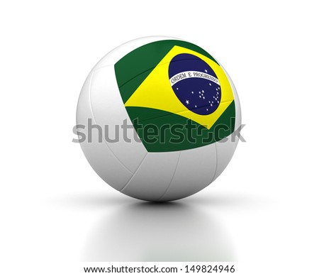 Brazilian Volleyball Team (isolated with clipping path)