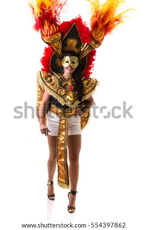 Brazilian wearing carnival costume on white background