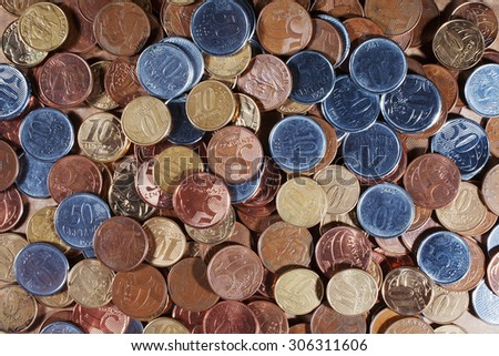 Brazillian coins background. Real coins and cent coins - stock photo