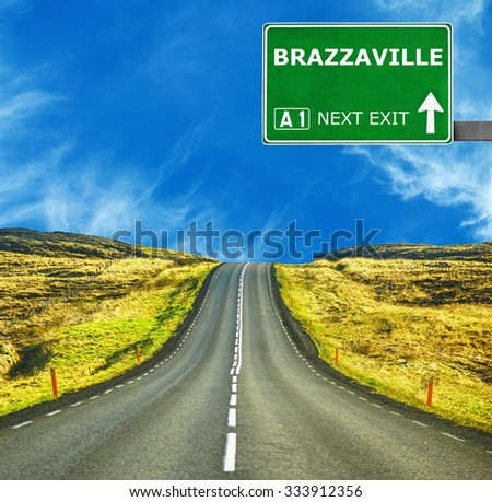 BRAZZAVILLE road sign against clear blue sky - stock photo