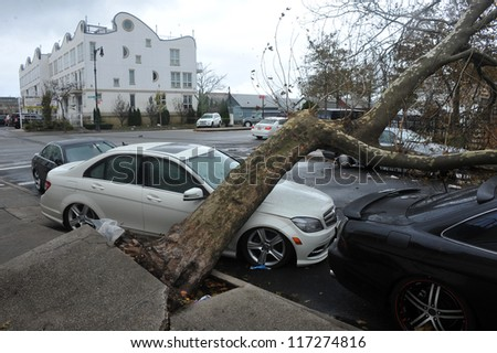 BRBROOKLYN, NY - OCTOBER 30:: Fallen tree lies across a car in the Sheapsheadbay neighborhood due to flooding from Hurricane Sandy in Brooklyn, New York, U.S., on Tuesday, October 30, 2012. - stock photo