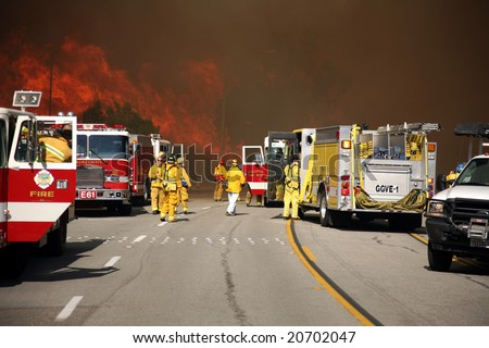 Brea, Ca - Nov 15 2008: Fast-moving wild fires in, Brea,  Yorba Linda, Anaheim Hills and empty streets,  freeways, and destroys hundreds of homes. - stock photo