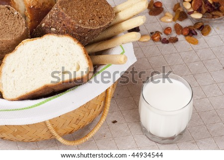 Bread and a glass of milk. Close up shoot
