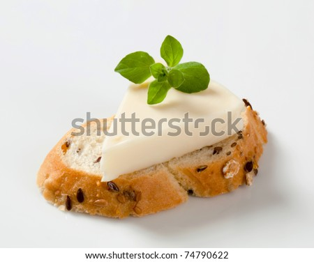 Bread and cream cheese - stock photo