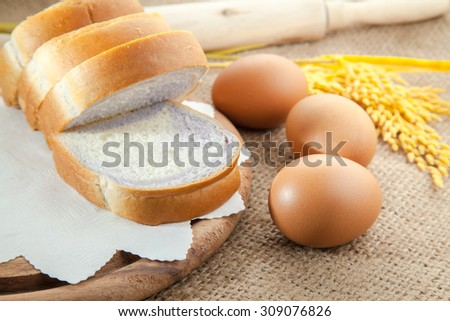 bread and eggs - stock photo