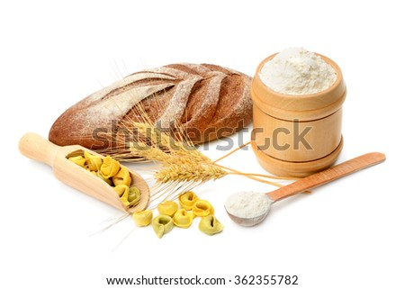 bread and flour products isolated on white background - stock photo