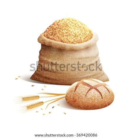 Bread And Grain 3d Concept - stock photo